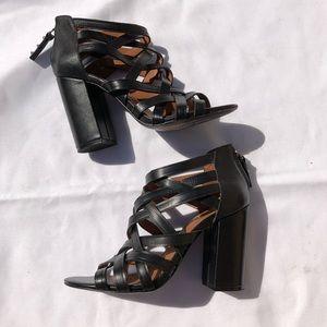 Ash Excel.Sior Leather Heeled Sandal Black sz 38